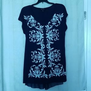 """Embroidered"" & Studded Tunic Top"